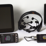 Picture of smartphone brain scanner and devices